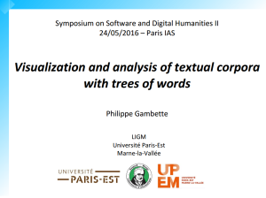 Visualization and analysis of textual corpora with trees of words
